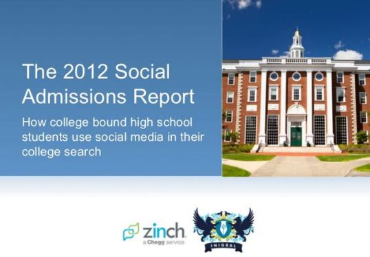 A screenshot of the 2012 Social Admissions Report on SlideShare