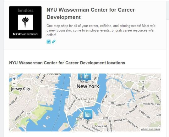 A screenshot of The NYU Wasserman Center on Foursquare